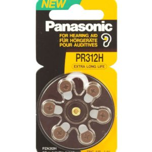 1.4V PR41 Zinc Air Hearing Aid Battery PR-312HEP/6C, Panasonic, 6 Pack