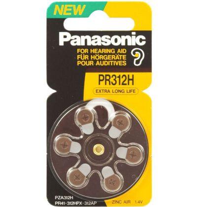 1.4V PR41 Zinc Air Hearing Aid Battery PR-312HEP/6C, Panasonic, 6 Pack