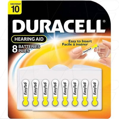 1.4V PR70 Hearing Aid Battery, 90mAh, Zinc Air, Duracell, 10HPX8