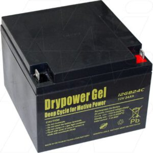 12V Sealed Lead Battery suitable for Golf Buggy, 24000mAh, Drypower, 12GB24C