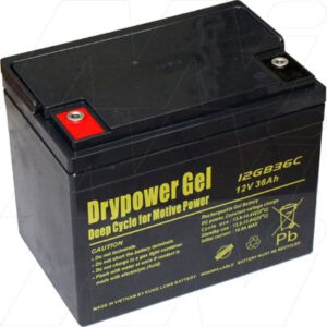 12V Sealed Lead Battery suitable for Golf Buggy, 36000mAh, Drypower, 12GB36C