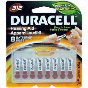 1.4V PR41 Hearing Aid Battery, 150mAh, Zinc Air, Duracell, 312HPX8