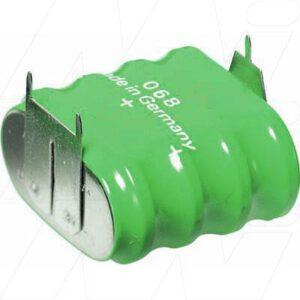 4.8V RBC Nickel Metal Hydride - NIMH Button / Coin Battery Pack, 140mAh, Varta, 4/V150H D+10mm S-