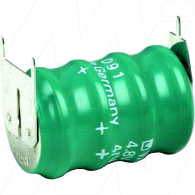 4.8V RBC Nickel Metal Hydride - NIMH Button / Coin Battery Pack, 70mAh, Varta, 4/V80H D+10mm S-