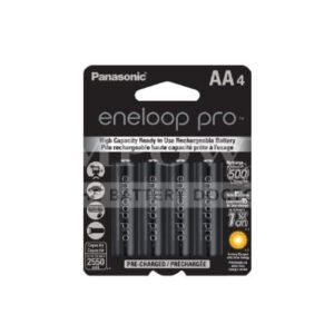 1.2V AA 4 Pack Nickel Metal Hydride Panasonic Eneloop Pro 2550mAh, 4Pk, BK-3HCCE/4BT