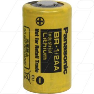 3V 1/2AA Lithium Poly-carbonmonoflouride Cylindrical Batteries 1Ah, Panasonic, BR1/2AA