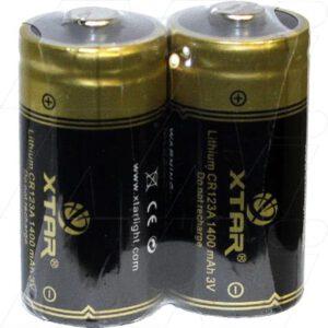 3V Lithium Manganese Dioxide Battery, 1400mAh, XTAR, CR123A-SP2