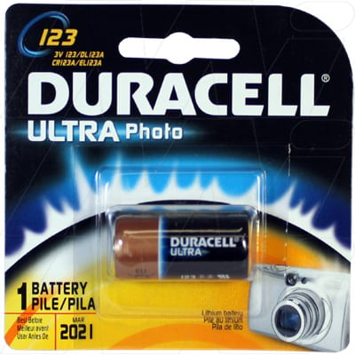 3V Lithium Battery replaces CR123A, EL123A, K123L, Duracell Ultra, DL123AB