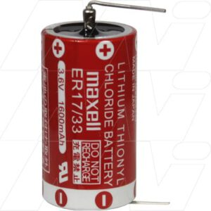 3.6V 2/3A Lithium Thionyl Chloride Battery 1.6Ah, Maxell, ER17/33#2PC