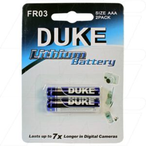 1.5V AAA Consumer Lithium Battery Cylindrical Cell 1.15Ah, Duke, FR03-BP2