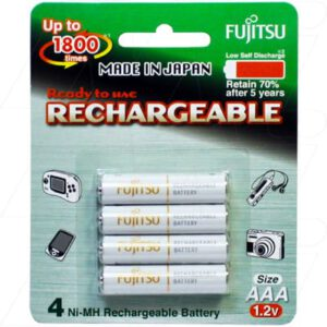 1.2V AAA 4 Pack Nickel Metal Hydride - NiMH Cylindrical Cell 800mAh, Fujitsu, 4PK, HR-4UTA(4B)