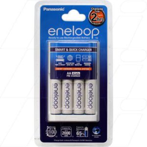 NIMH Battery Charger 1-4 AA/AAA cell Quick Battery Charger including 4 x Panasonic Eneloop AA batteries, Panasonic, K-KJ16MCC4TA