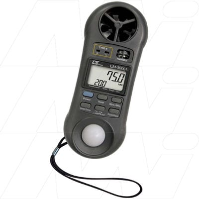 Lutron - 4 In 1 Anemometer/Hygrometer (Humidity)/Light Meter/Thermometer, LM8000A