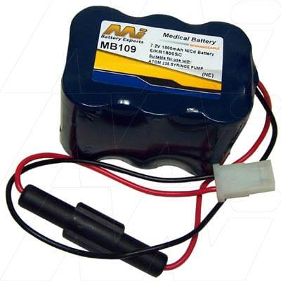 Atom 235 Syringe Pump Medical Battery, 7.2V, 1800mAh, NiCd, Mst, MB109