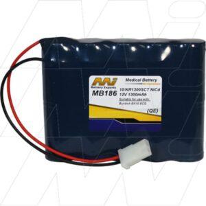 Burdick Corp EK10ECG Medical Battery, 12V, 1300mAh, NiCd, Mst, MB186