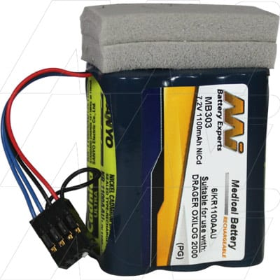 Physio Control Life Pak 250 Medical Battery, 7.2V, 1000mAh, NiCd, Mst, MB303