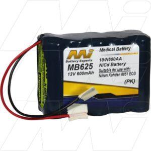 Nihon Kohden 6851K ECG Medical Battery, 12V, 600mAh, NiCd, Mst, MB625
