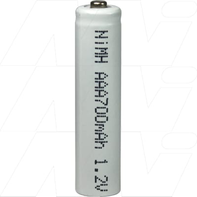 1.2V AAA Nickel Metal Hydride - NIMH Industrial Cylindrical Cell with Extended Nipple, 700mAh, Mst, MH-AAA700