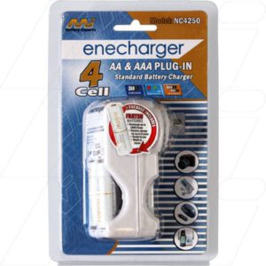 NIMH Battery Charger Battery Charger for 2 or 4 AA or AAA NiMH batteries including 2xHR-4UTA AAA, Enecharger, NC4250-EN2AAA