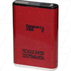 3.6V Lithium Ion Prismatic Battery - rechargeable, fused Type, Panasonic, NCA103450