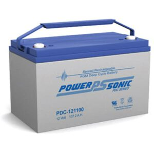 12V 107.2Ah Powersonic AGM Deep Cycle Sealed Lead Acid (SLA) Battery, PDC-121100