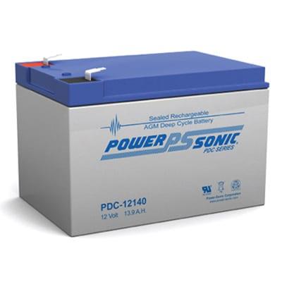12V 13.9Ah Powersonic AGM Deep Cycle Sealed Lead Acid (SLA) Battery, PDC-12140 F2