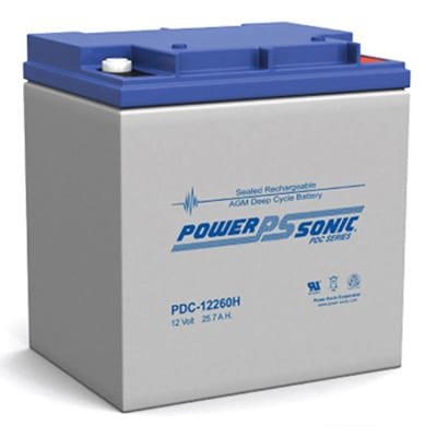 12V 25.7Ah Powersonic AGM Deep Cycle Sealed Lead Acid (SLA) Battery, PDC-12260H