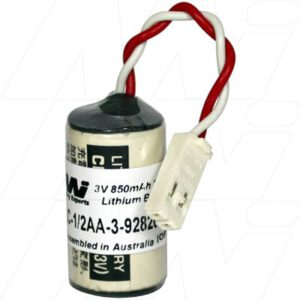 3V 1/2AA Lithium Manganese Dioxide Battery suitable for PLC, CNC & Memory Backup, 850mAh, Mst, PLC-1/2AA-3-928205