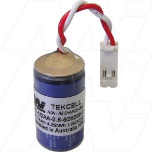 3.6V 1/2AA Lithium Thionyl Chloride Battery suitable for PLC, CNC & Memory Backup, 1200mAh, Mst, PLC-1/2AA-3.6-928205