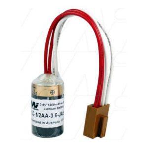 3.6V 1/2AA Lithium Thionyl Chloride Battery suitable for PLC, CNC & Memory Backup, 1200mAh, Mst, PLC-1/2AA-3.6-JAE1