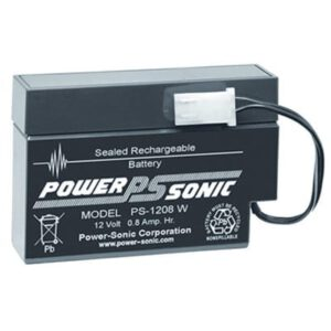 12V 0.8Ah Powersonic AGM General Purpose Sealed Lead Acid (SLA) Battery, PS-1208
