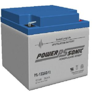 12V 26Ah Powersonic AGM General Purpose Sealed Lead Acid (SLA) Battery, PS-12260 F2