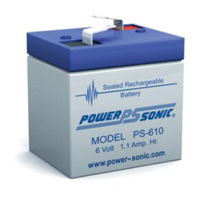 6V 1.1Ah Powersonic AGM General Purpose Sealed Lead Acid (SLA) Battery, PS-610