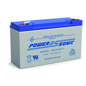 6V 12Ah Powersonic AGM General Purpose Sealed Lead Acid (SLA) Battery, PS-6100 F1