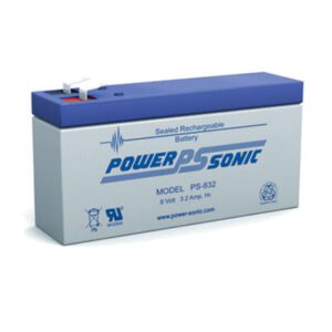 8V 3.2Ah Powersonic AGM General Purpose Sealed Lead Acid (SLA) Battery, PS-832