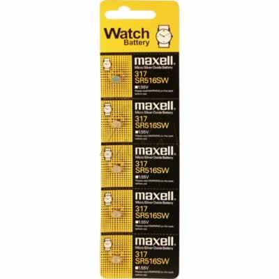 1.55V 11.5mAh Button / Coin Cell SR516SW BP5 Silver Oxide, Maxell