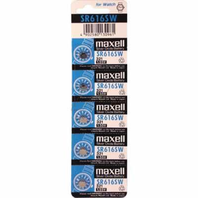 1.55V 16mAh Button / Coin Cell SR616SW BP5 (V321) Silver Oxide, Maxell