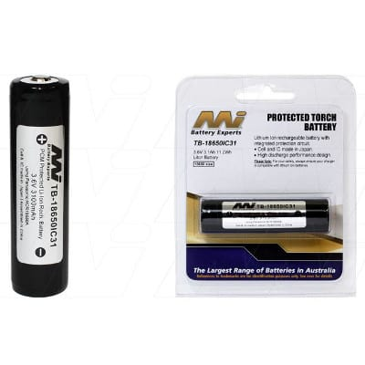 3.6V LiIon Battery suitable for Specialised Torch & Laser Sight various models, 3100mAh, Mst, TB-18650IC31-BP1