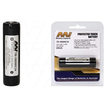 3.6V LiIon Battery suitable for Specialised Torch & Laser Sight various models, 3400mAh, Mst, TB-18650IC34-BP1