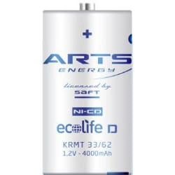 1.2V ecolife D Nickel Cadmium - NiCd Sleeved (CFG) High Energy series cell, Arts Energy, 4000mAh, ecolife D
