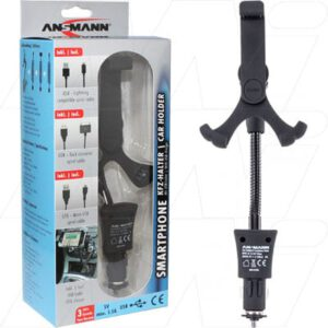 1000-0004 Ansmann Smartphone Car Holder with USB Charger, Ansmann, 1000-0004