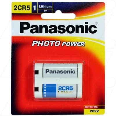 6V Lithium Photo Battery replaces DL245, EL2CR5, KL2CR 1.4Ah, Panasonic, 2CR5-BP1