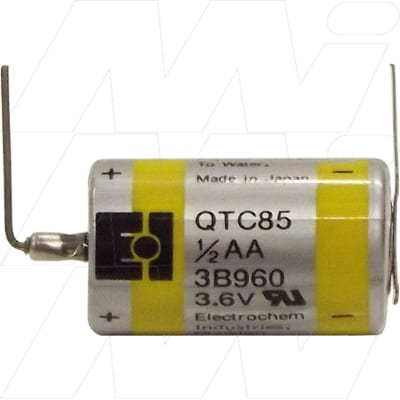 3.6V 1/2AA Specialised Lithium Battery Cylindrical Cell QTC85 series with PC board leads/pins 750mAh, Electrochem, 3B960-PC