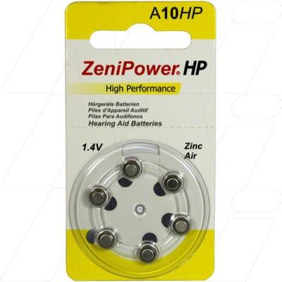 1.4V 80mAh Button / Coin Hearing Aid Battery A10 BP6, Zenipower