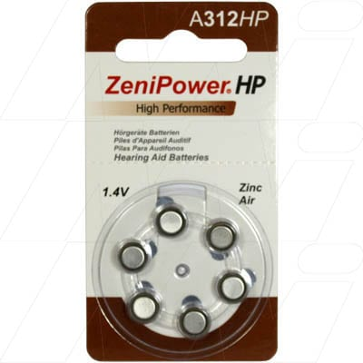 1.4V Zinc Air Hearing Aid Button / Coin Cell 140mAh, Zenipower, A312-BP6