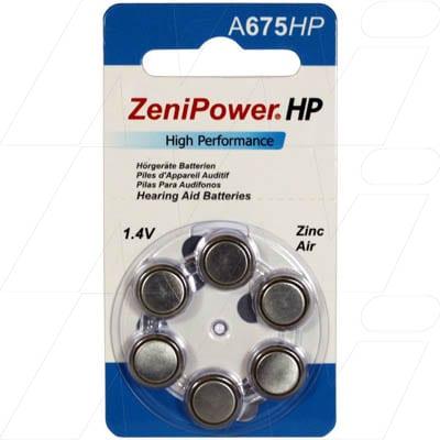 1.4V 600mAh Button / Coin Hearing Aid Battery A675 BP6, Zenipower