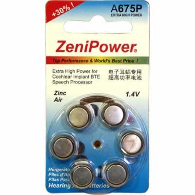 1.4V Zinc Air Hearing Aid Button / Coin Cell 520mAh, Zenipower, A675P-BP6