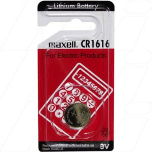 3V Button / Coin Consumer Lithium Manganese Dioxide Cell 55mAh, Maxell, CR1616-BP1(M)