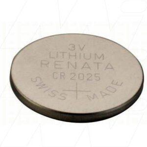 3V Button / Coin Lithium Manganese Button / Coin Cell 170mAh, Renata, CR2025(R)