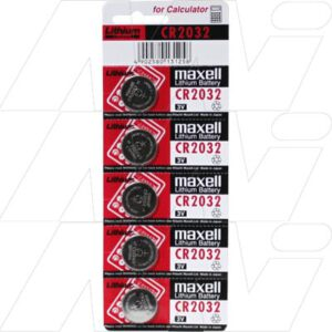 3V Button / Coin Consumer Lithium Cell 230mAh, Maxell, CR2032-BP5(M)